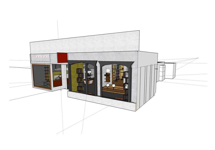 Beumer schoenmode | interieur restyling en ontwerp | restyling interieur in 3d animatie | Ontward vormgeving ontwerp strategie