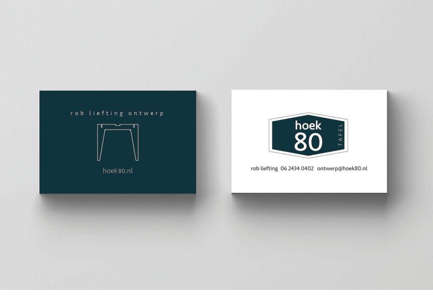 Hoek 80 | strategie, merknaam & grafische vormgeving van logo & visitekaartje