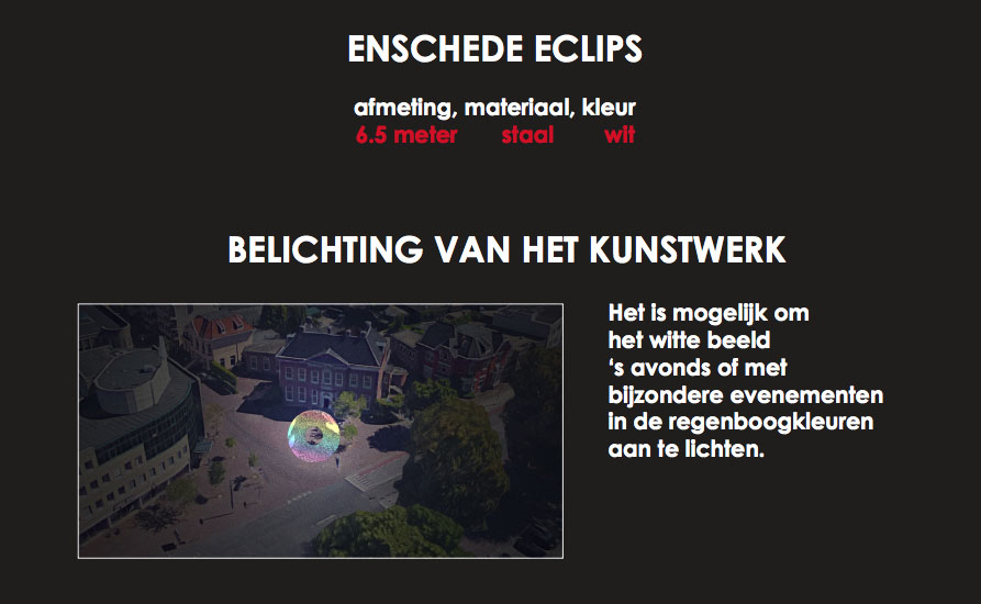 Enschede Eclips kunstwerk Hoedemakerplein Ontward